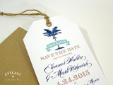 Palm Luggage Tag & Twine Save the Date Wedding Announcement