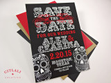 Black & Red Bold Sugar Skulls Save the Date