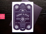 Rehearsal Dinner Fiesta Purple Papel Picado Invitations