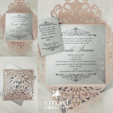 Silver & Blush Laser Cut Square Quinceañera Birthday Invitations