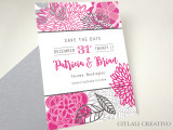 Modern Dahlia Mum Garden Floral Save the Dates in Pinks