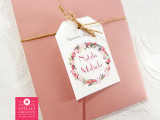 Garden Florals Wedding Invitations in Dusty Pink Pocket Folder