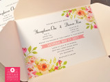 Peach / Blush Pink Pocket Envelope Floral Wedding invitations