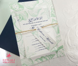 Navy & Mint Green Seashells Beach Wedding Invitations