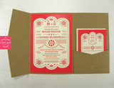 Mexican Papel Picado Mexican Folk Art Banner Wedding Invitations in Kraft Pocket folder & printed belly band