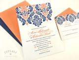 Two-tone large Damask Top Wedding Invitation in Navy & Coral