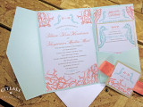 Coral & Aquamarine Coral Reef & Seahorses Pocket folder Wedding Invitation