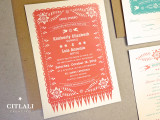 Fringe Papel Picado Wedding Invitations in Coral & Aqua