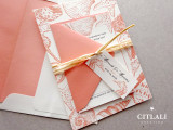 Seashells & Seahorses Beach Wedding Invitations in Coral