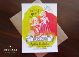 Posada Skeleton Couple Kneeling Watercolor Wedding Save the Dates