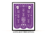 Papel Picado Sugar Skulls Purple Wedding Reception Seating Chart