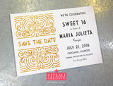Art Deco Inspired Glitter Sweet 16 Save the Dates