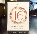 Floral Wreath Tented Table numbers in earthy Marsala wine tones