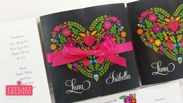 Heart Mexican Embroidery Florals Tri-fold Quinceañera XV Invitations
