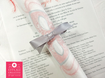 Masquerade Quinceañera Vellum (Translucent) Invitations in coral with a silver satin ribbon band