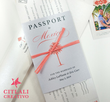 Coral Passport + Boarding Pass Ticket Wedding Invitations
