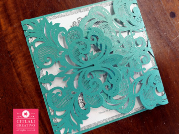 Glitter & Teal Damask Lasercut Monogram Wedding Invitations