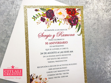 Glitter and Roses Wedding Anniversary Invitations