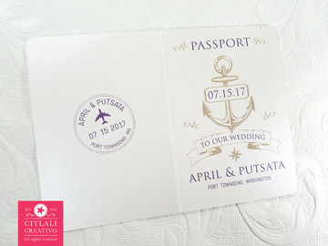 Anchor Passport + Boarding Pass Destination Wedding Invitations