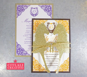 Lace & Horseshoe Charra XV Invitations with Glitter Gold Horses