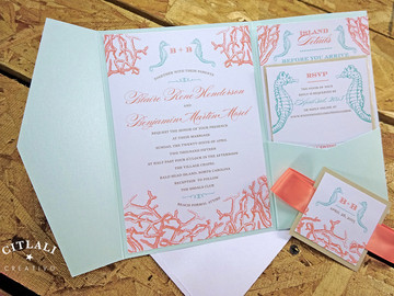 Coral & Aquamarine Coral Reef & Seahorses Pocket folder Wedding Invitation Version