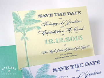 Palm Tree Save the Date - Ivory Metallic Cover stock printed in Navy & Aqua Blue