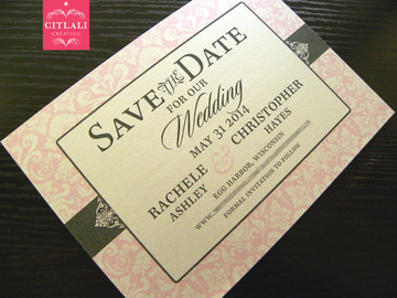 Reversed Pink Damask Save the Date printed on ivory metallic cover stock
