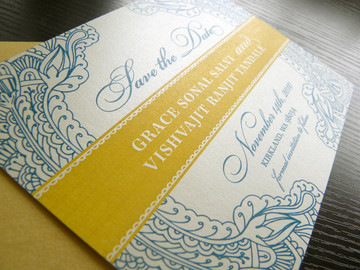 Floral Paisley Henna Save the Date Card in teal & gold