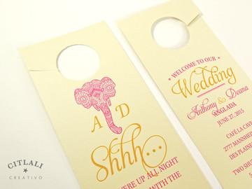 Elephant Henna Mehndi Do Not Disturb Wedding Guest Door Hangers