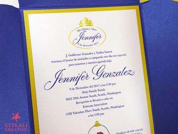 Beauty & the Beast Rose Pocket Quinceañera Invitations