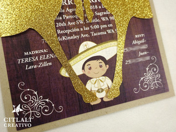 Baptism Cross Charro Invitations with Glitter Gold Horses