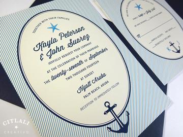 Striped Oval Starfish & Anchor Wedding Invitation in Navy & Caribbean Blue