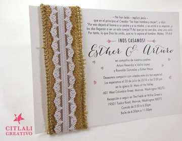 Burlap Rustic Lace Wrapped Wedding Invitations