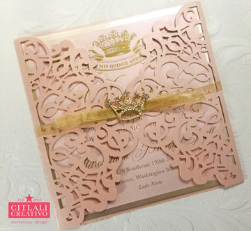 Pink & Gold Rhinestone Crown Tiara Laser Cut XV Quinceañera Invitations