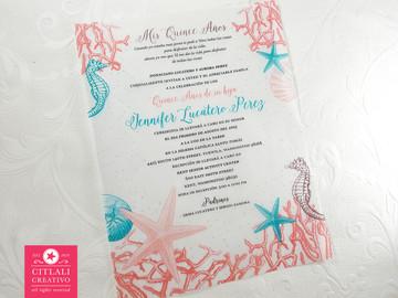 Under the Sea theme - Ocean Coral Reef, Starfish, Seashells & Seahorses Quinceañera Birthday Invitations