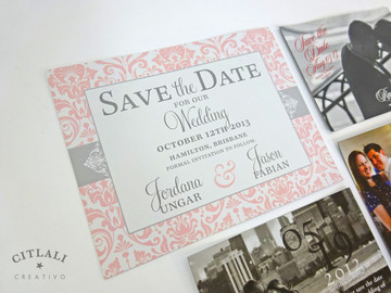 Citlali Creativo Save the date Magnets: damask in pink & light grey