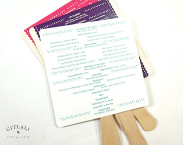 Papel Picado Fan Programs with Wooden Stick Handle