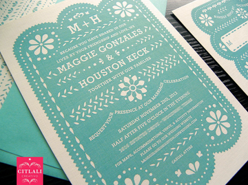 Papel Picado Mexico Destination Rustic Wedding Invitations