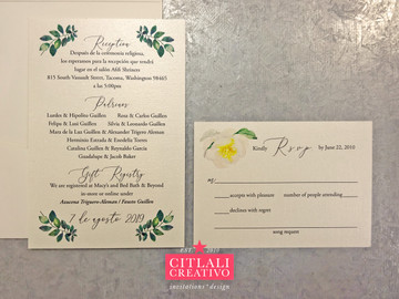Floral Greenery Geometric Gold Frame Pocket Wedding Invitations