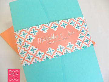 Quatrefoil Wedding Invitations Pocket Folder Suite in aqua & coral