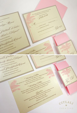 Pink & Sand Layered Palm Tree Beach Wedding Invitation