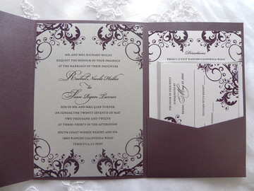 Silver & Purple Plum Elegant Filigree / Flourish Pocket Folder Wedding Invitation