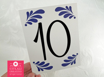 Talavera - Spanish Tile Tent Table Numbers in blue