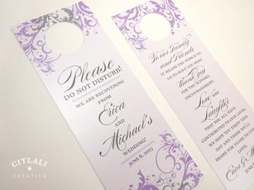 Filigree Swirl Hotel Guest Wedding Lilac & Silver Door Hangers