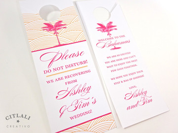 Palm Tree Wave Do Not Disturb Door Hangers / Guest Gift Bags