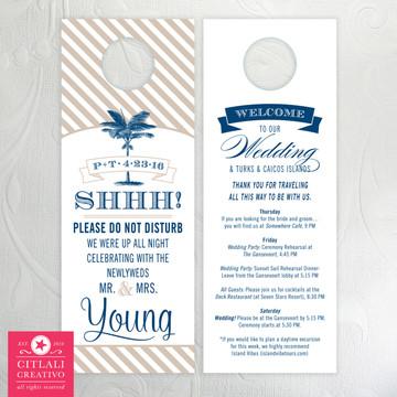 Striped Palm Tree Banner Do Not Disturb Wedding Door Hangers