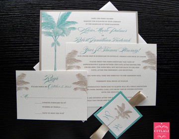 Aqua & Sand Layered Ribbon Palm Tree Beach Wedding Invitations