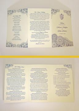 Three panel option - Ganesha Henna Mehndi Folded Wedding Ceremony Program