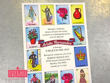 """Mexican Loteria Inspired """"La Quinceañera"""" Invitations"""