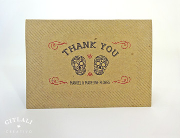 Kraft Sugar Skulls Curved Thank You Card Folded